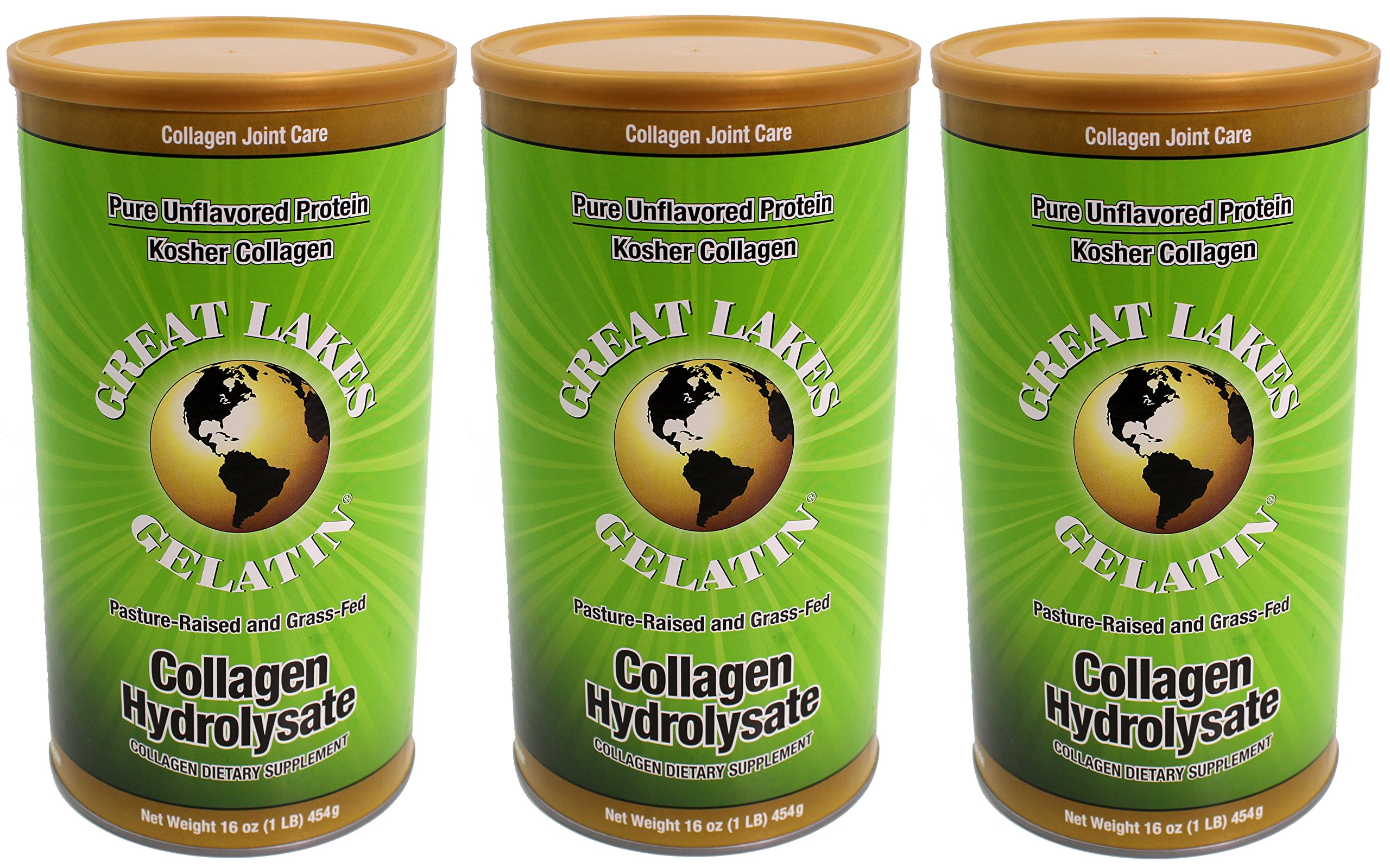 Great Lakes Gelatin, Collagen Hydrolysate, Beef, Kosher, 16 oz, 3-Pack by Great Lakes