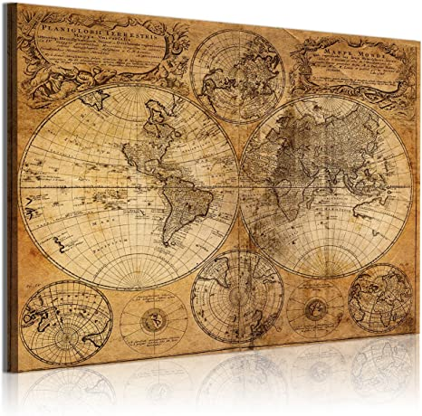 DekoArte 305 - Cuadros Modernos Impresión de Imagen Artística Digitalizada | Lienzo Decorativo para Tu Salón o Dormitorio | Estilo Mapamundi Mapa del Mundo Antiguo | 1 Pieza 120 x 80 cm: Amazon.es: Hogar