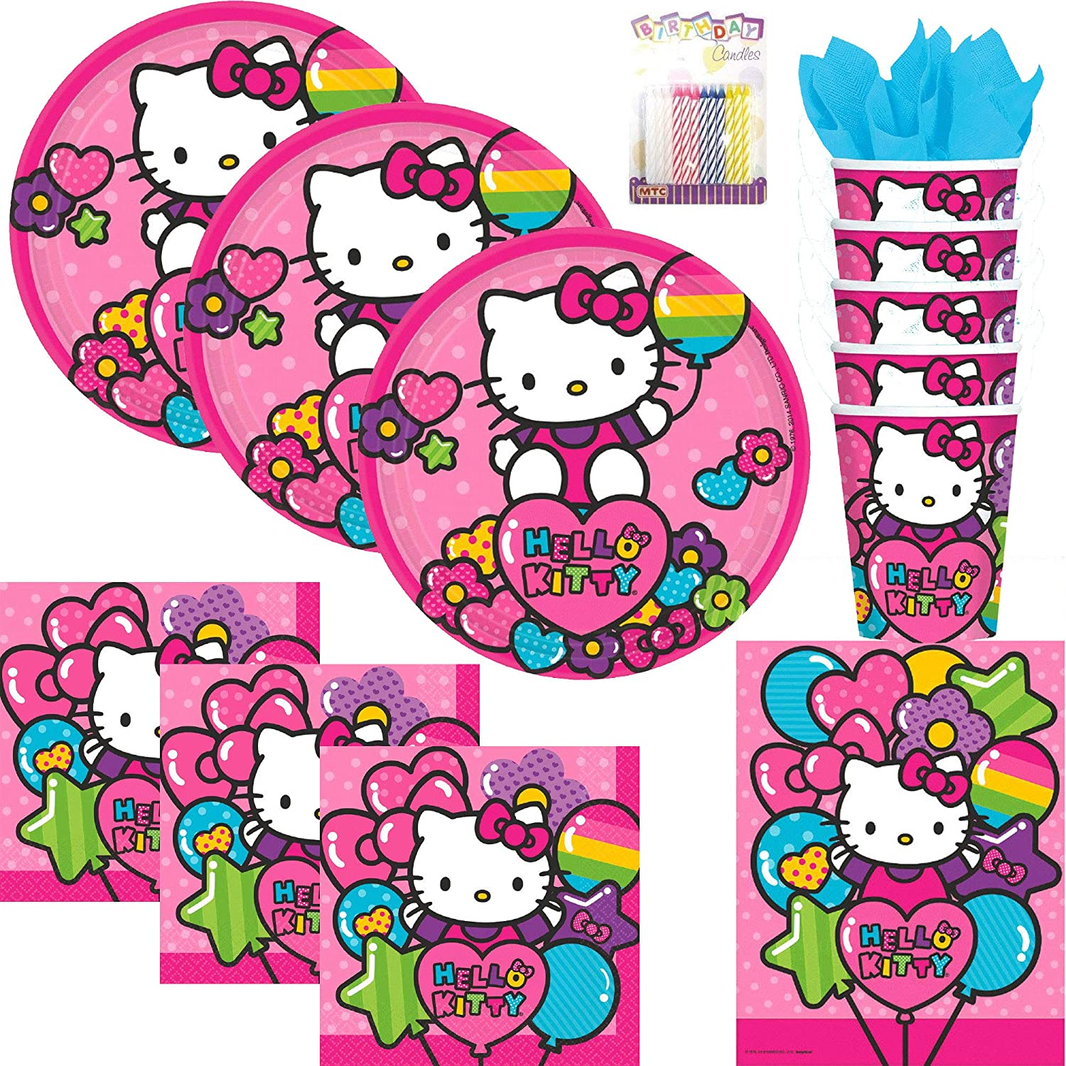 20ea3cc87 Amazon.com: Rainbow Hello Kitty Party Supplies Pack Serves 16: Dessert  Plates, Napkins, Cups, Table Cover and Birthday Candles: Toys & Games