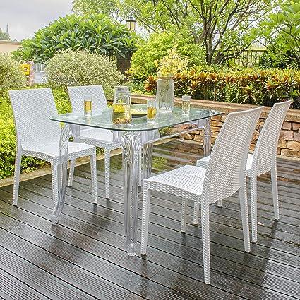 Astounding Amazon Com Rimdoc Patio Dining Chairs Set Of 4 White Spiritservingveterans Wood Chair Design Ideas Spiritservingveteransorg