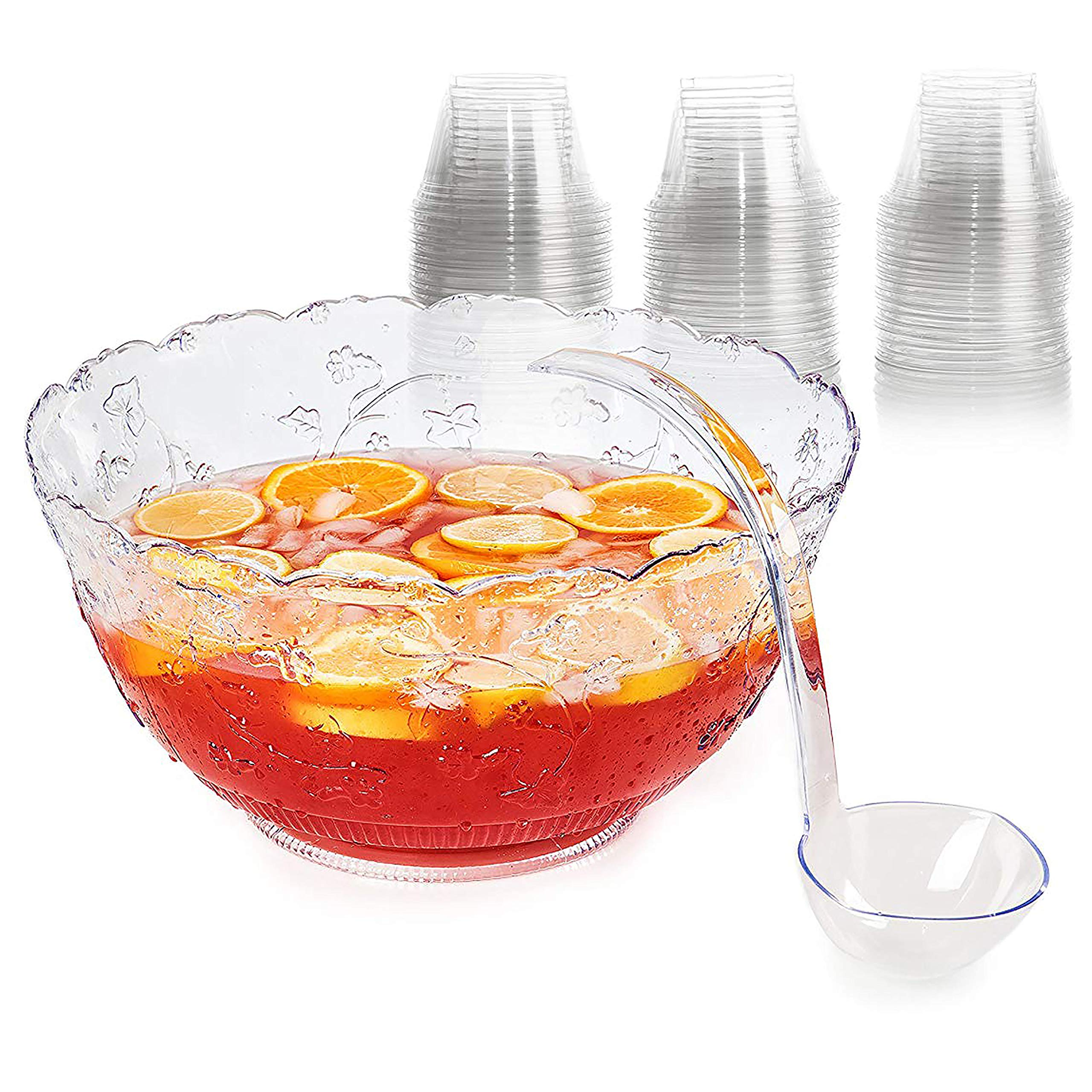 Set of Plastic Punch Bowl, Ladle, and Cups - Large 2 gallon Bowl 5 oz Punch Ladle and 9 oz Disposable Clear party punch Cups by Upper Midland Products