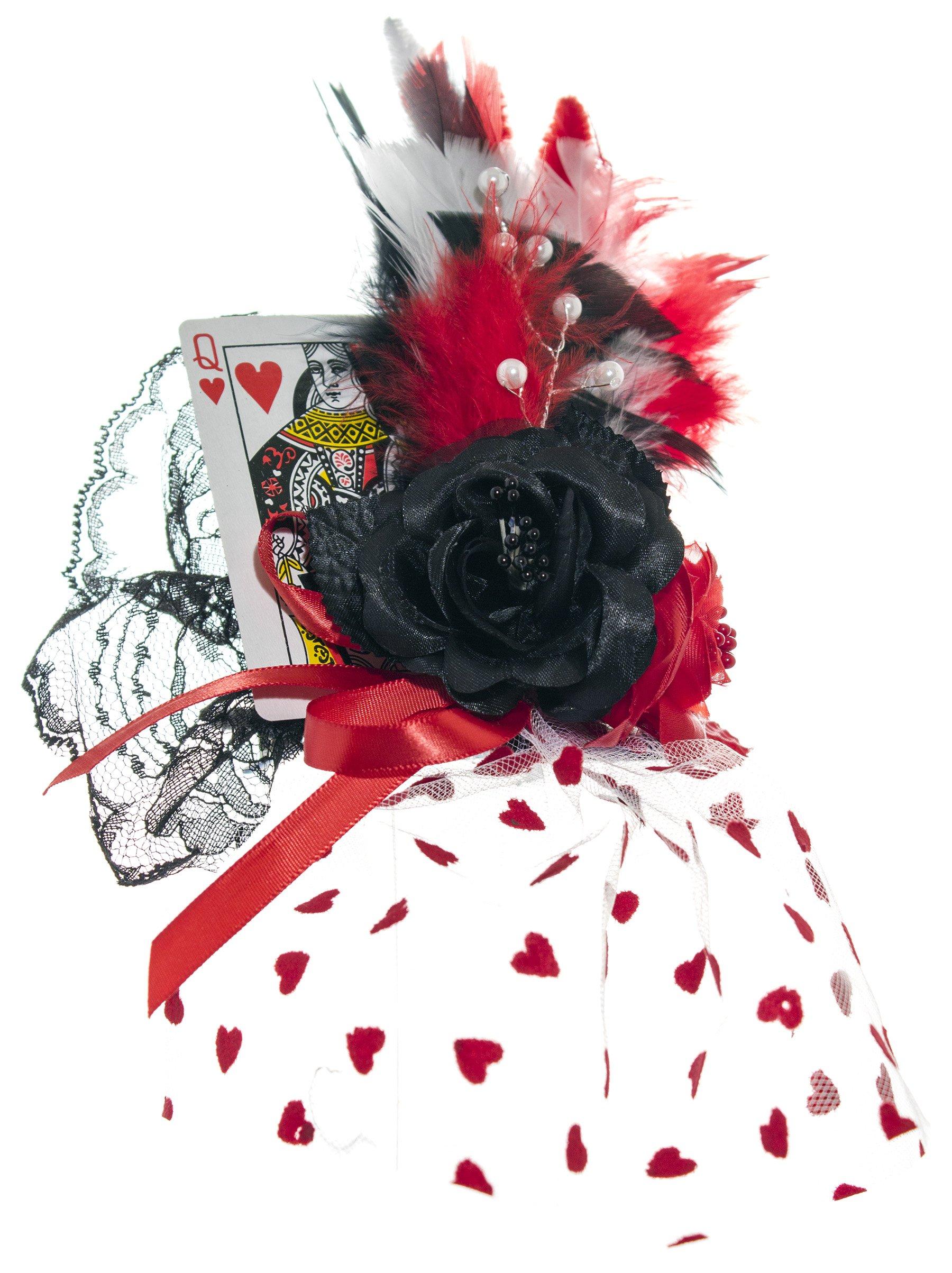 Women's Queen of Hearts Mini Top Hat Fascinator - DeluxeAdultCostumes.com