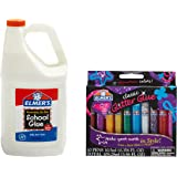 Elmer's Washable School Glue, 1 Gallon and  Elmer's Washable Glitter Glue, Classic Rainbow, Pack of 10 Pens