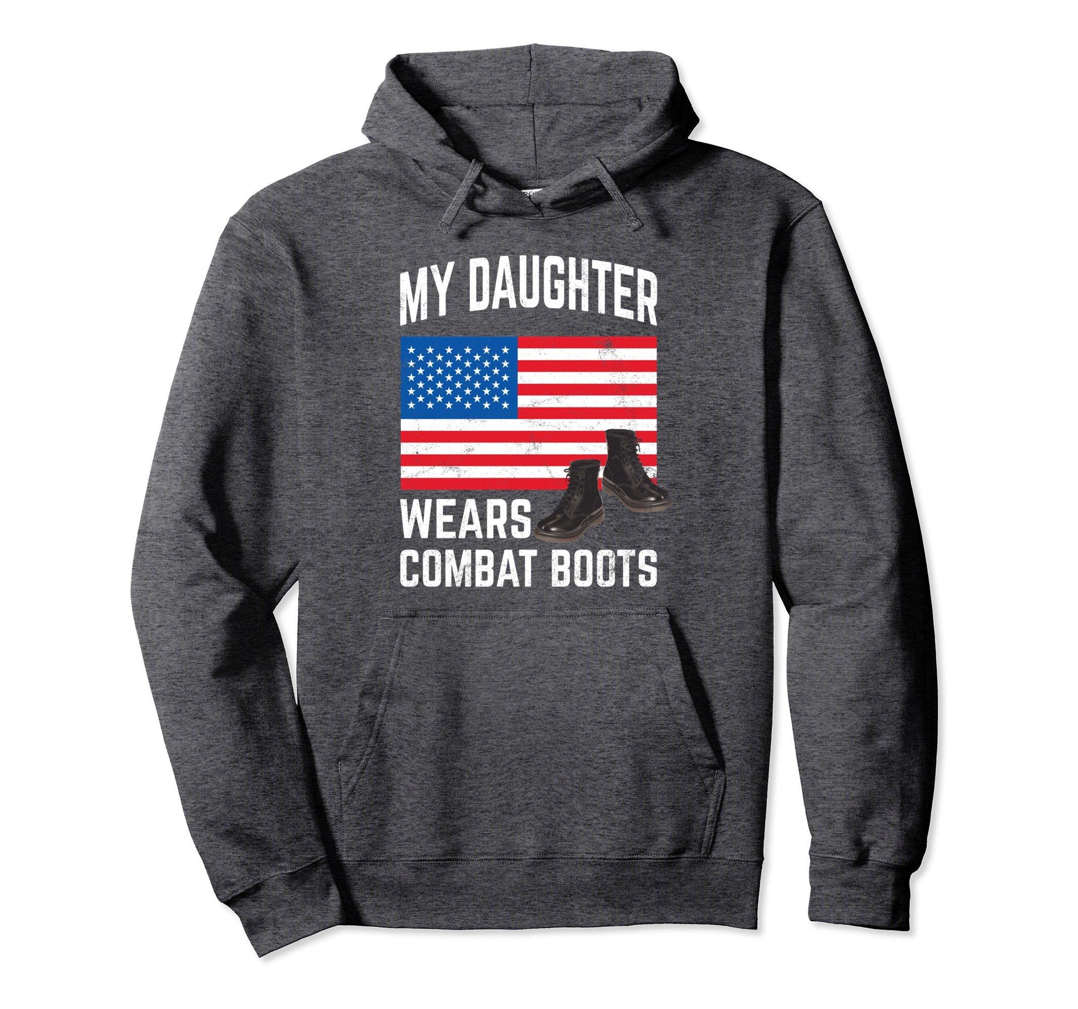 Unisex My Daughter Wears Combat Boots Hoodie Military Support XL: Dark Heather