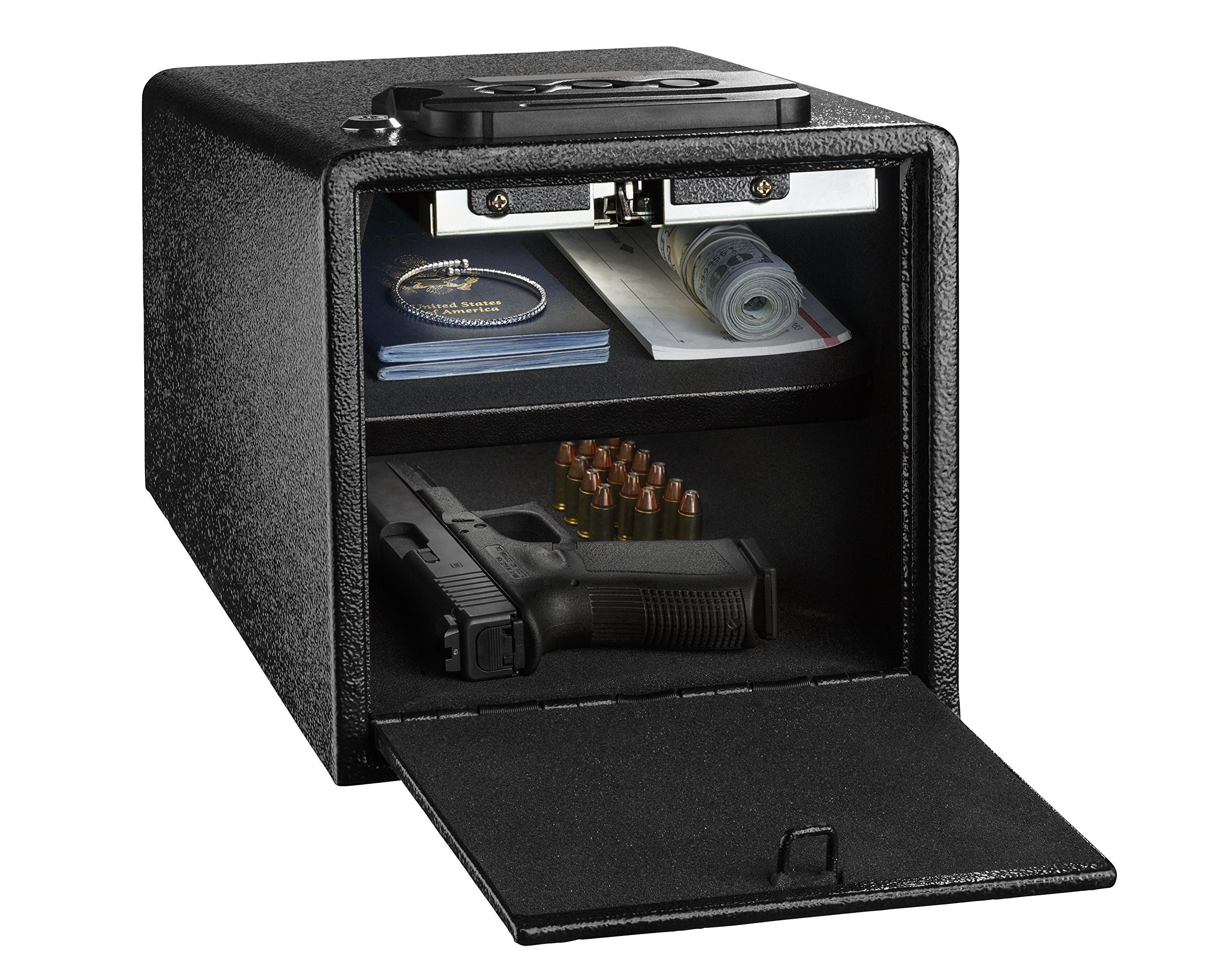 AdirOffice Pistol Safe - Electronic, Easy to Install, Heavy Duty Storage for Firearms Cash Jewelry Documents & More - for Home Office Hotel Use (Black, Medium)