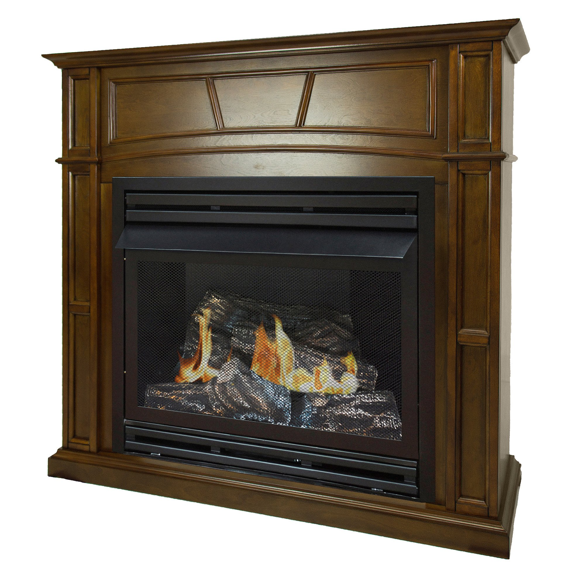 Pleasant Hearth 46 Full Size Natural Gas Vent Free Fireplace System 32,000 BTU, Rich Heritage by Pleasant Hearth