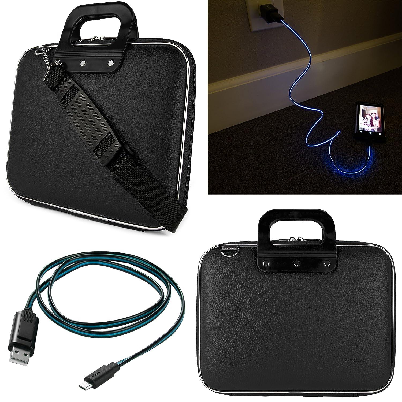 SumacLife 10.1インチタブレット用メッセンジャーバッグHipstreet w10 & w10 Pro with Lightning micro USBデータケーブル(ブラック)   B019HW9566