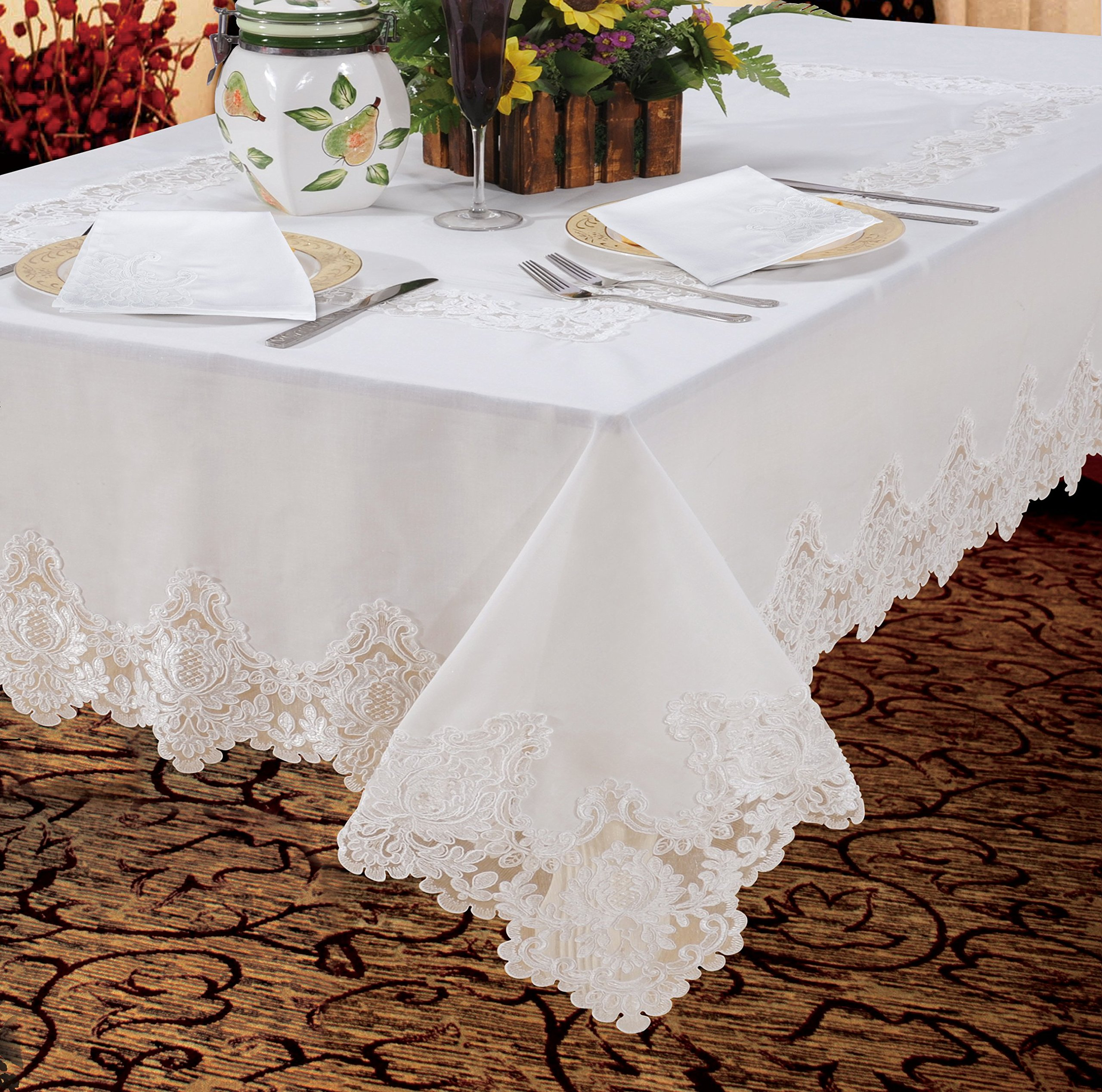 "Violet Linen Imperial Embroidered Vintage Lace Design Oblong/Rectangle Tablecloth, 60"" x 84"", White - Degrees up dinner. Or any meal. With this appealing lace tablecloth Kitchen accessory combines the soft, visual appeal of Cotton with the durability of polyester Elegant lace border - tablecloths, kitchen-dining-room-table-linens, kitchen-dining-room - 91N7yaL2 kL -"
