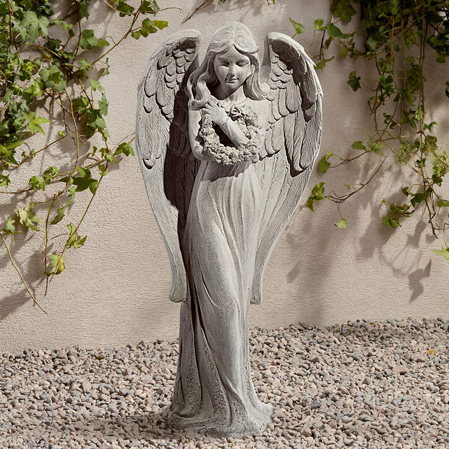"John Timberland Standing Angel Victorian Outdoor Statue 25"" High Sculpture for Yard Garden Patio Deck Home Entryway Hallway"