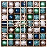 Valery Madelyn 49-tlg Winter Wünsche Weihnachten Traumhafter Winter Blaue und Silberne Bruchsiche Weihnachtskugeln, Tafelaufsatz, inklusive 49 Aufhängehaken