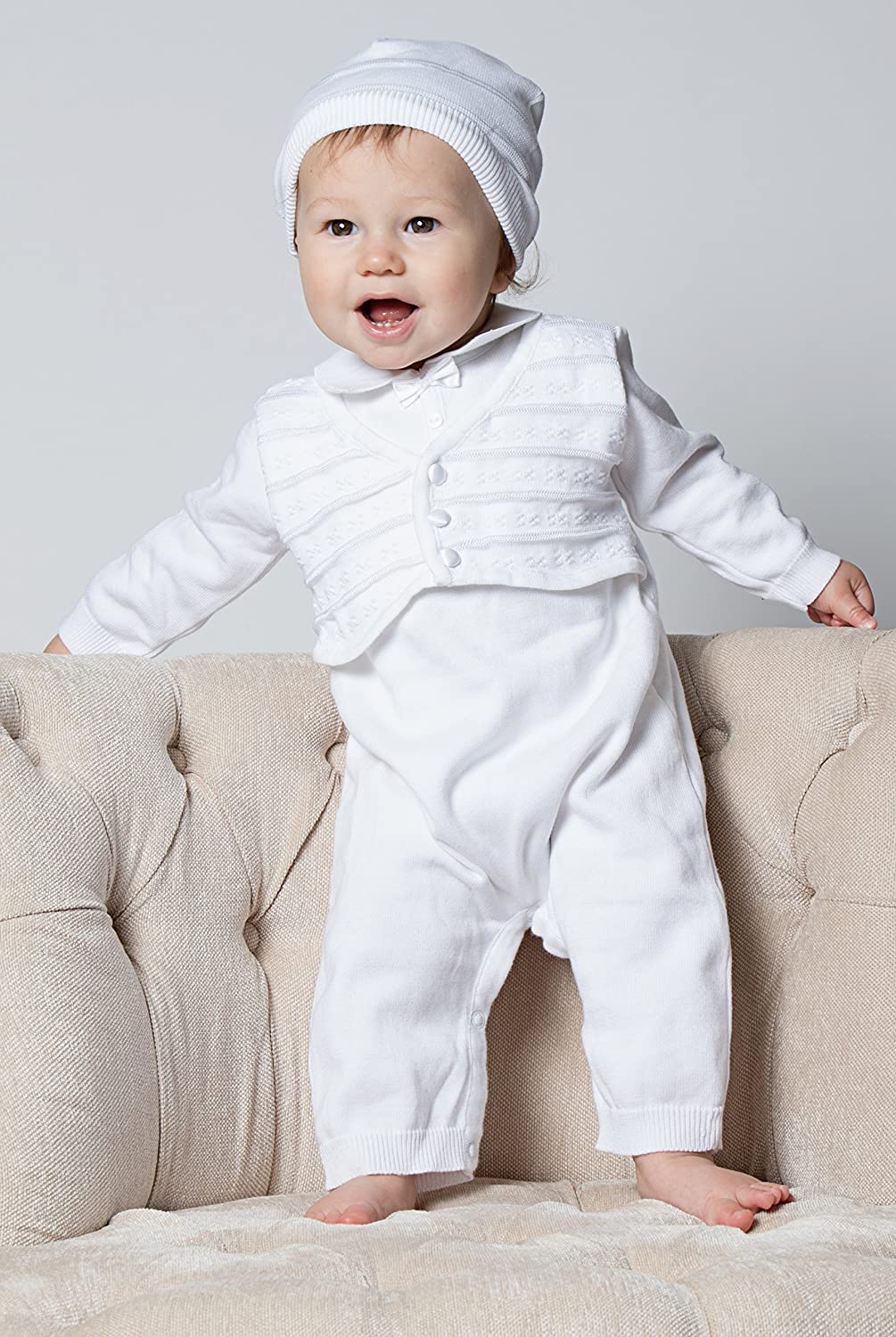 Boutique Collection Baby Boys Christening Outfit with Attached Vest and Hat