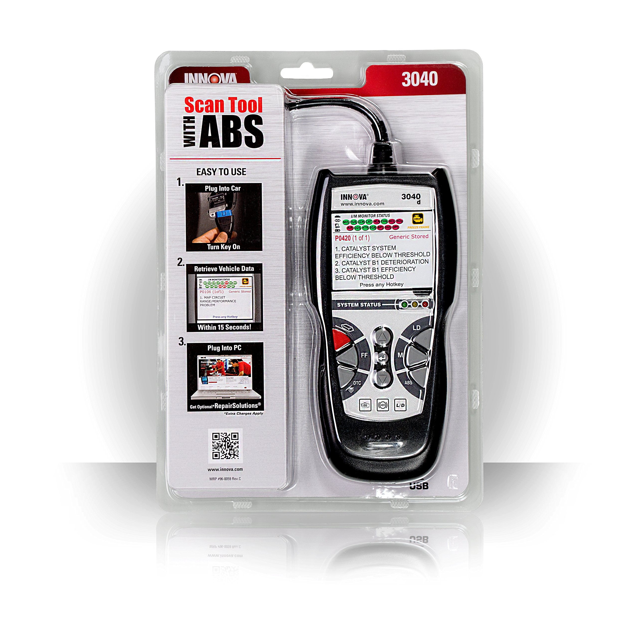 Innova 3040d Diagnostic Code Reader/Scan Tool with ABS and Live Data for OBD2 Vehicles by Innova (Image #4)