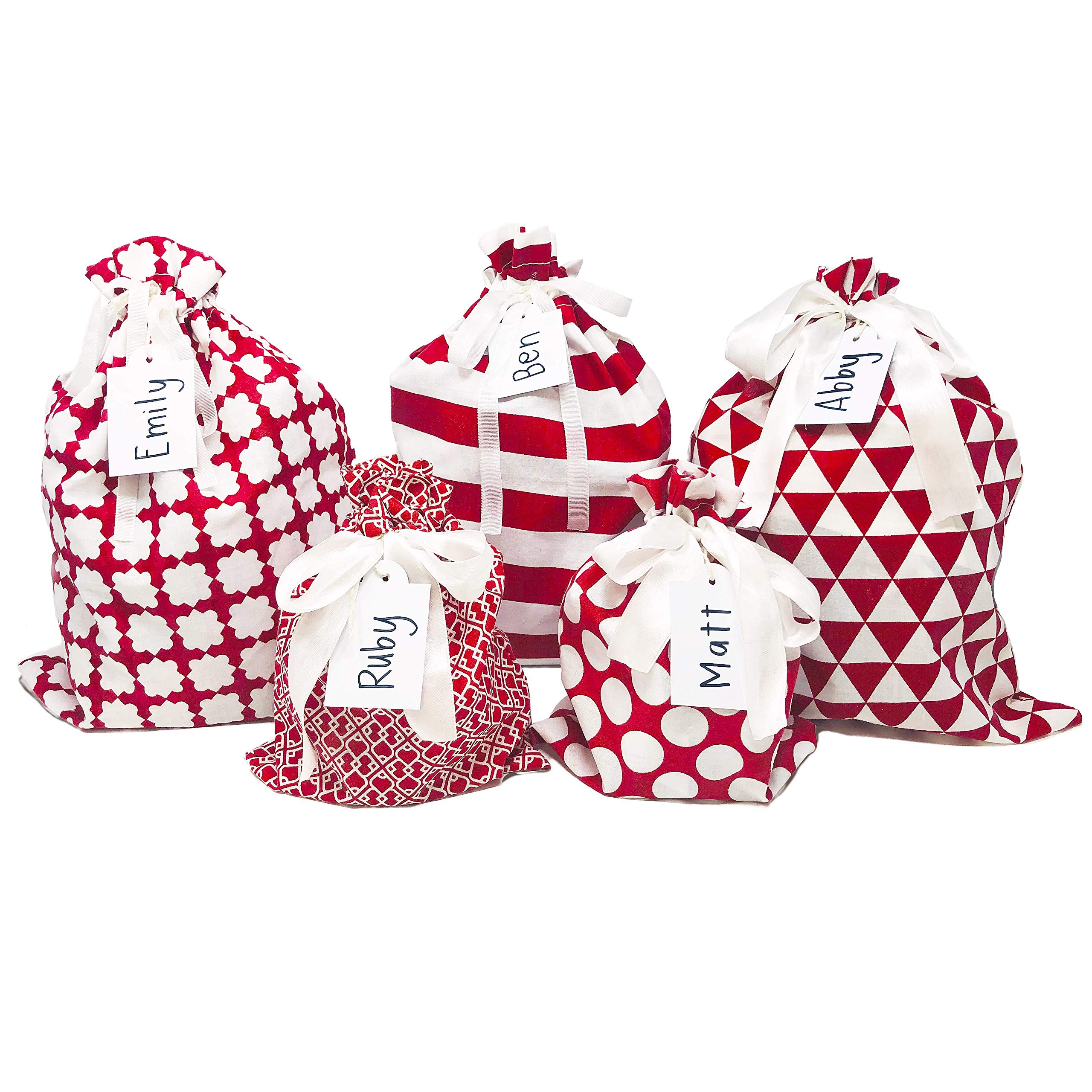 """Appleby Lane Fabric Gift Bags (Standard Set, Red) 100% Cotton, Set of 5 Bags: Three 16""""x12"""" and Two 10""""x8"""""""