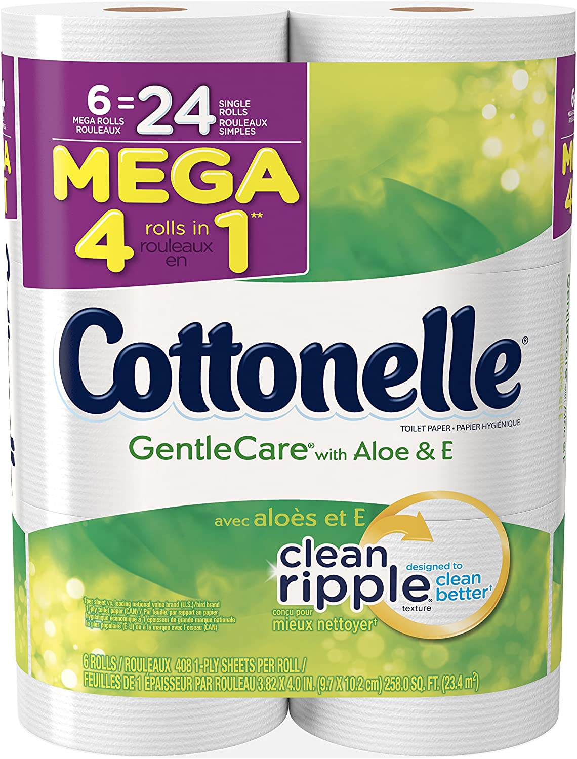 Cottonelle Gentle Care Toilet Paper, Sensitive Bath Tissue, Aloe & Vitamin E, 6 Mega Toilet Paper Rolls