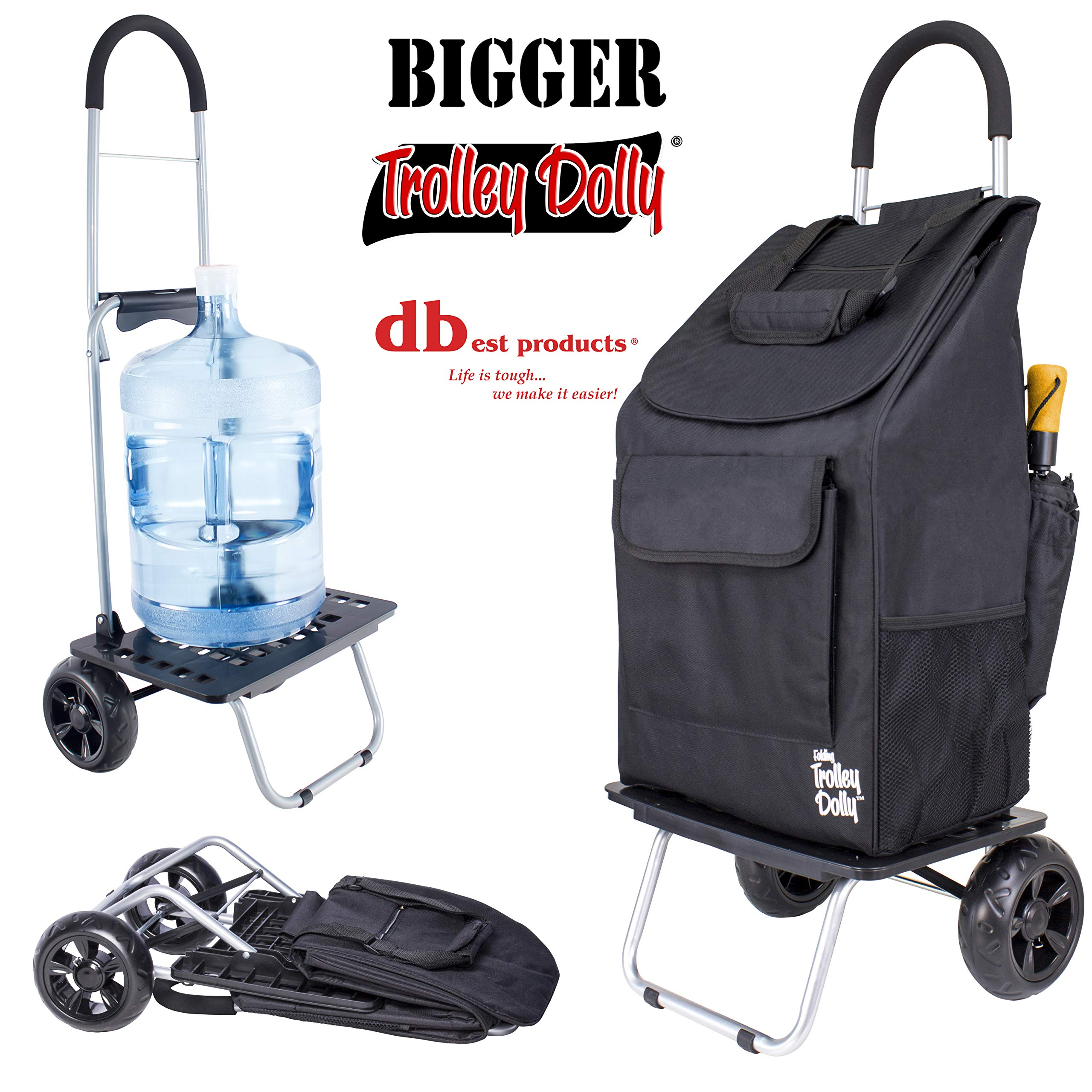 dbest products Bigger Trolley Dolly, Black Shopping Grocery Foldable Cart by dbest products