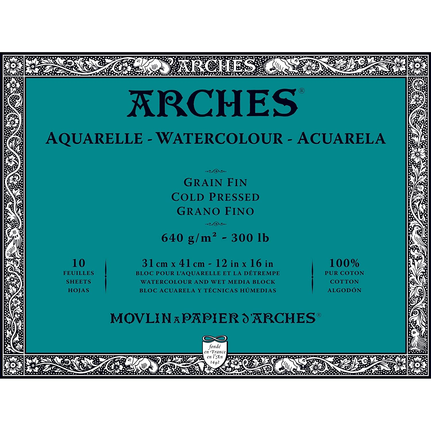 Arches Water Colour Block, 300 lb/640GSM, Cold Pressed, 9 x 12 9 x 12 1795065