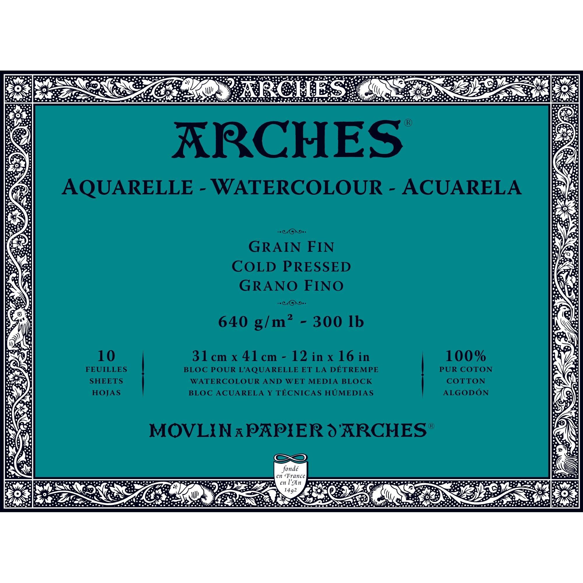 Arches Watercolor Paper Block, Cold Press, 12'' x 16'', 300 pound (1795067)
