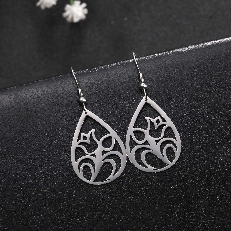 TEAMER Fashion Silver Earrings Tulip Silhouette Flower Stainless Steel Dangle Earrings Teardrop Statement Daily Earrings Jewelry for Women Girls