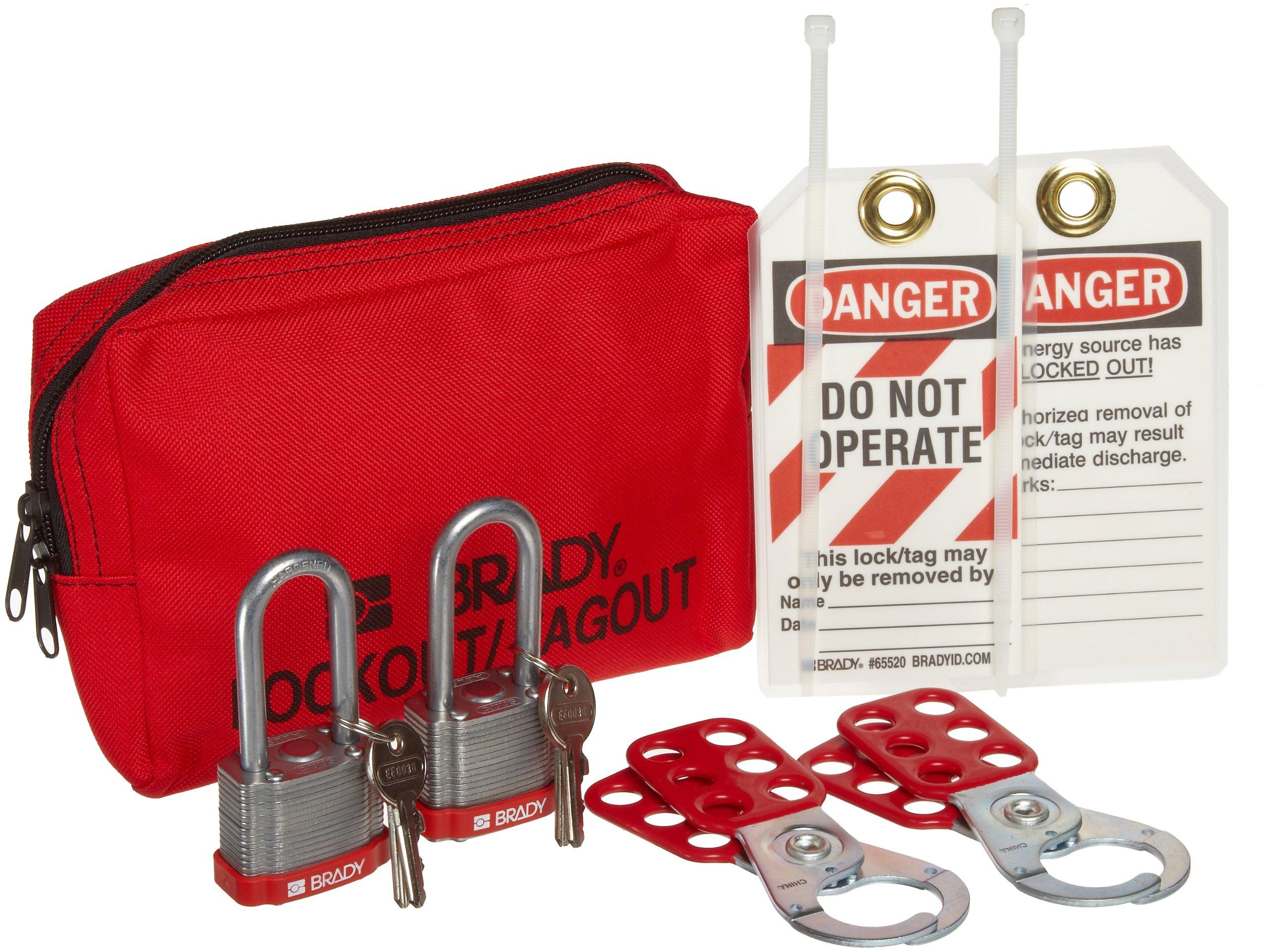 Brady Personal Lockout Pouch Kit, Includes 2 Steel Padlocks