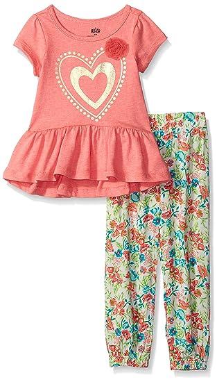 d758f83d7cb Amazon.com  Kids Headquarters Girls  Orange Vanilla Single Dye Top with  Printed Challis Set  Clothing