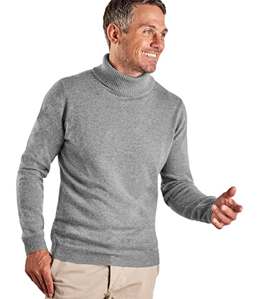 0668dc796 Woolovers Mens Cashmere Merino Roll Neck Long Sleeve Top Fine Knit Polo  Neck Knitted Sweater Grey Marl, L: Amazon.co.uk: Clothing