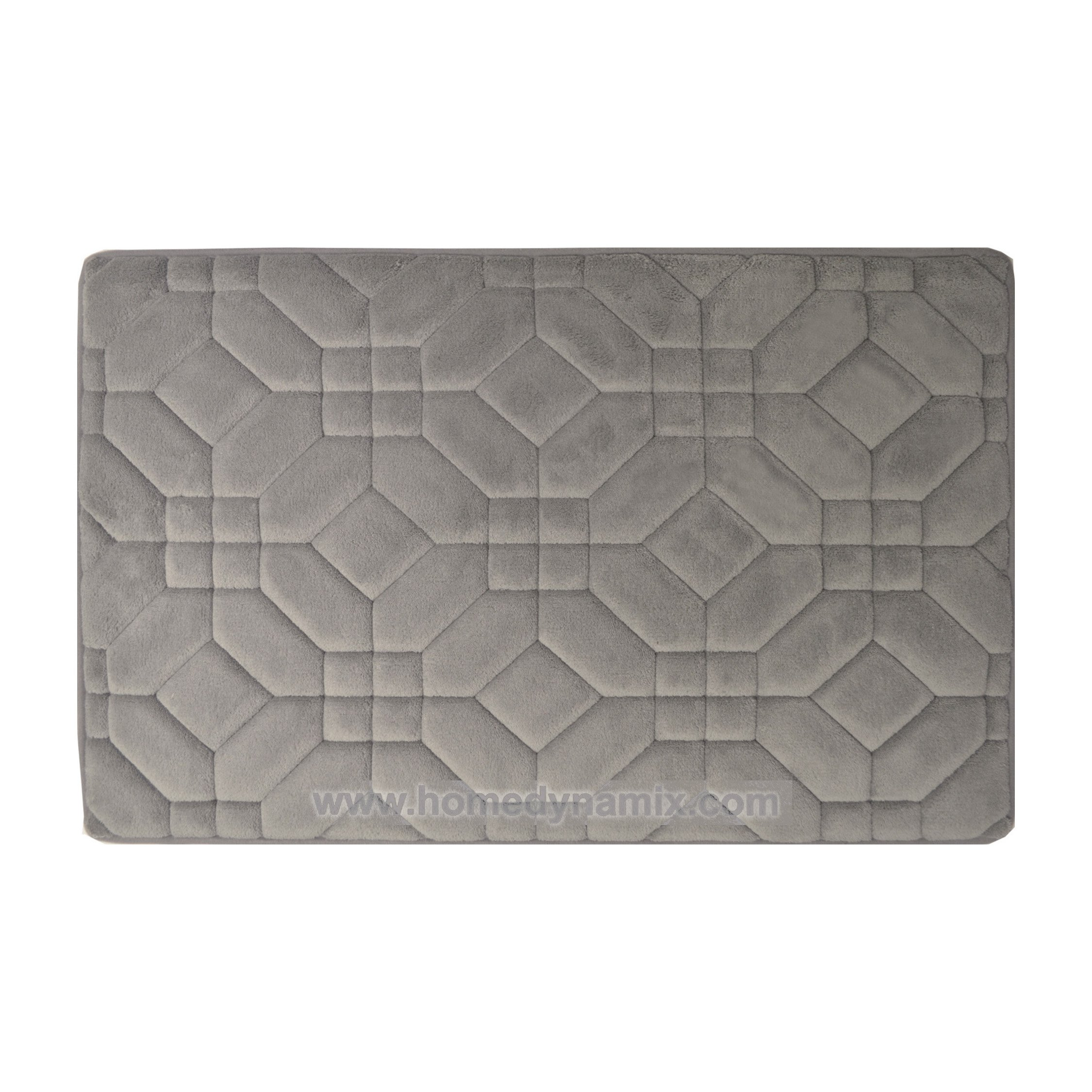 Gray Memory Foam Bathroom Mat/rug : Day Spa Tiles Design, Soft and Absorbent, Non-skid Backing (17'' x 24'' 2-Piece Set)