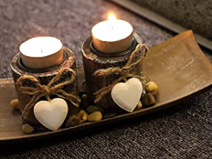 Soyizom Wooden Candle Holder with Heart-shape Design Vintage Rustic Decorative Candle Tea Lights French Candle stands Holder for as Dinner Table Top Decor Christmas Wedding Home Indoor & Outdoor Decor