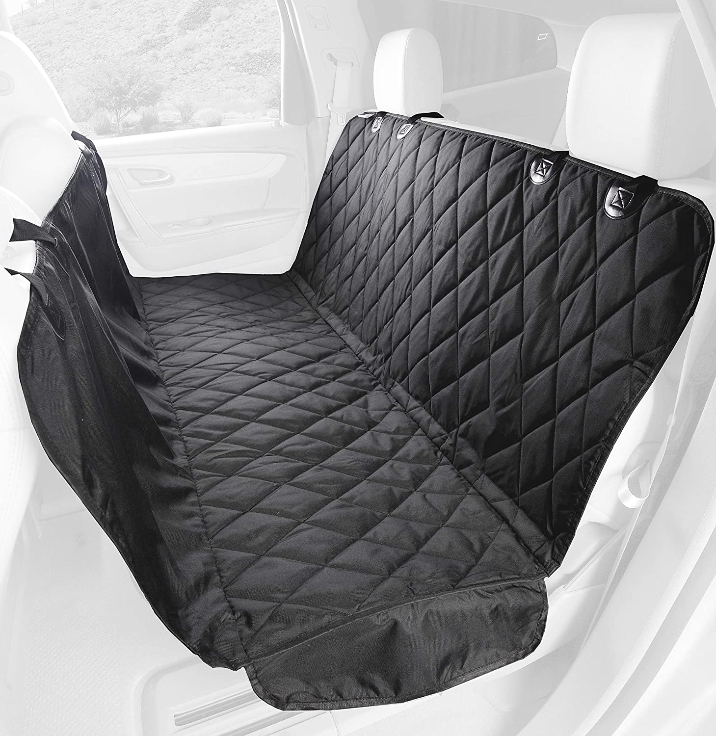 4Knines Dog Seat Cover with Hammock for Cars, Trucks and SUVs – Heavy Duty, Non Slip, Waterproof – USA Based