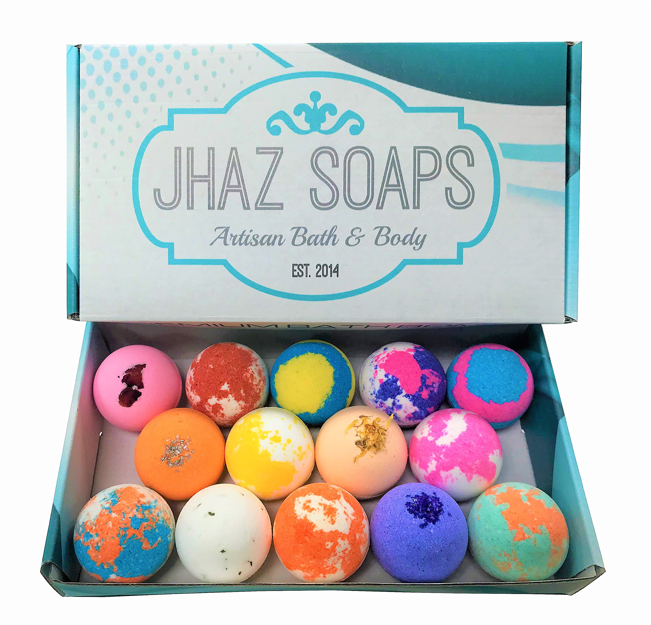 14 Bath Bombs by Jhaz Soaps: Gift Set, Lush Bath Experience, Colorful Bath Bomb, Non staining, Premium Colors and Moisturizing Ingredients, Made in the USA by Jhaz Soaps (Image #1)