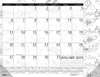 product image for House of Doolittle 2019 Monthly Desk Pad Calendar, Doodle Black and White, 22 x 17 Inches, January - December (HOD187-19)