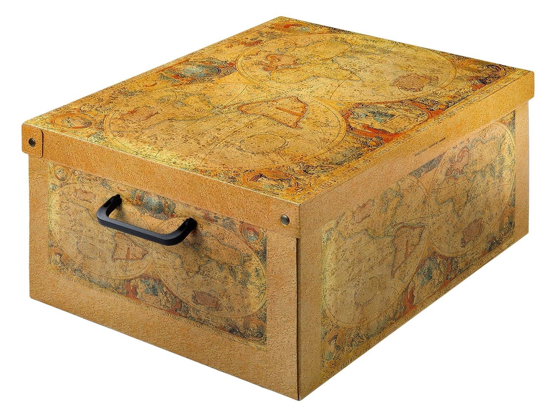 LAVATELLI Caja de Almacenamiento en cartón, Montaje Muy facil, práctica y Decorativa, con manejas, tamaño Grande diseño Blanco: Amazon.es: Hogar