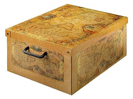 LAVATELLI Caja en Carton, Ocre, 50x40x25 cm