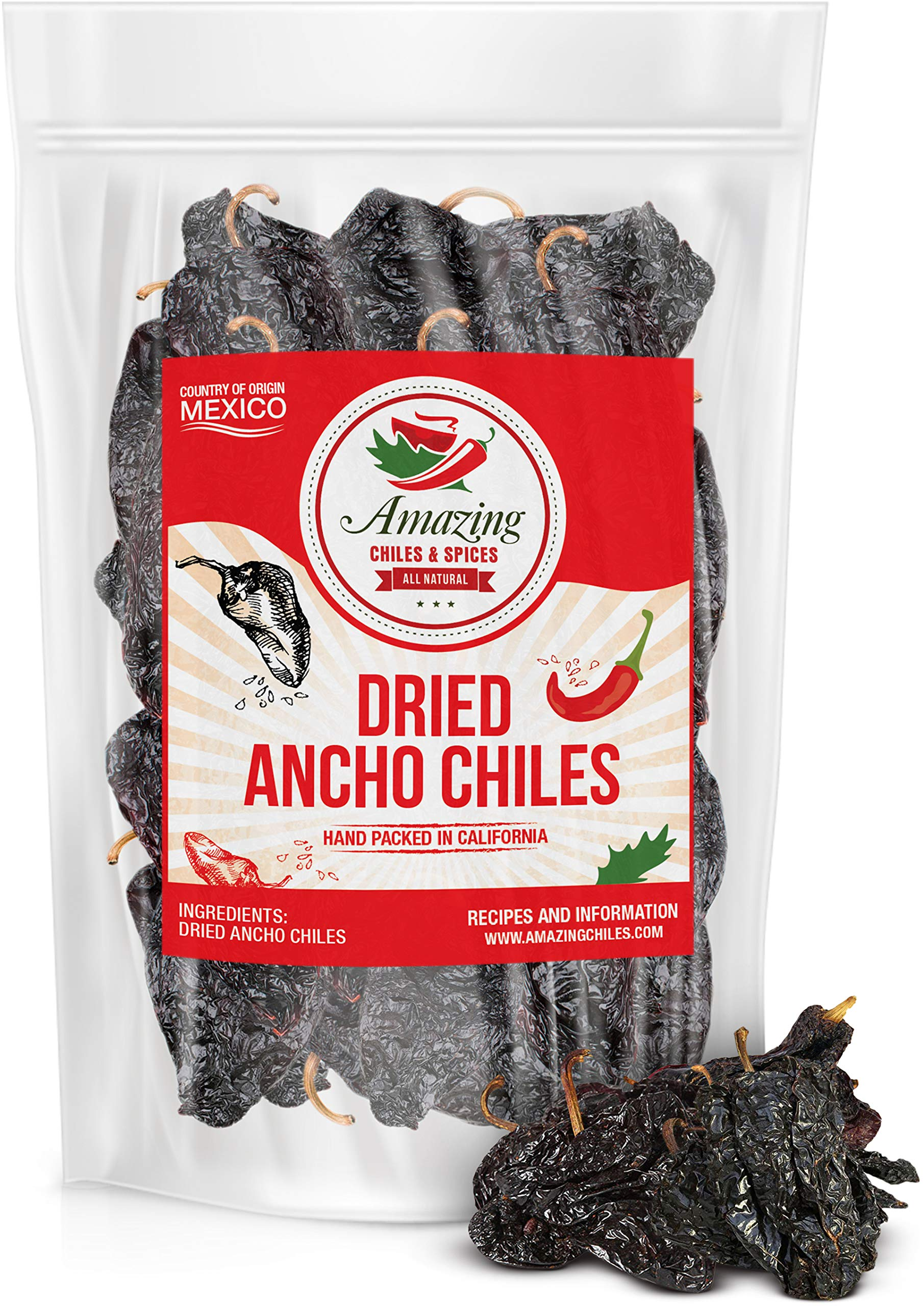 Dried Ancho Chiles Peppers 5 oz – Natural and Premium. Great For Recipes Like Mexican Mole, Sauces, Stews, Salsa, Meats, Enchiladas. Mild to Medium Heat, Sweet & Smoky Flavor. Air Tight Resealable Bag