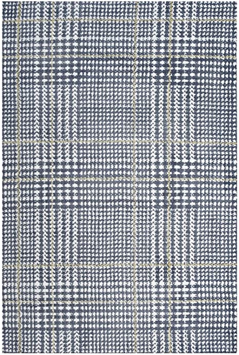 Amazon Com Modway Kaja Abstract Plaid 8x10 Area Rug In Ivory Cadet Blue And Citron Furniture Decor