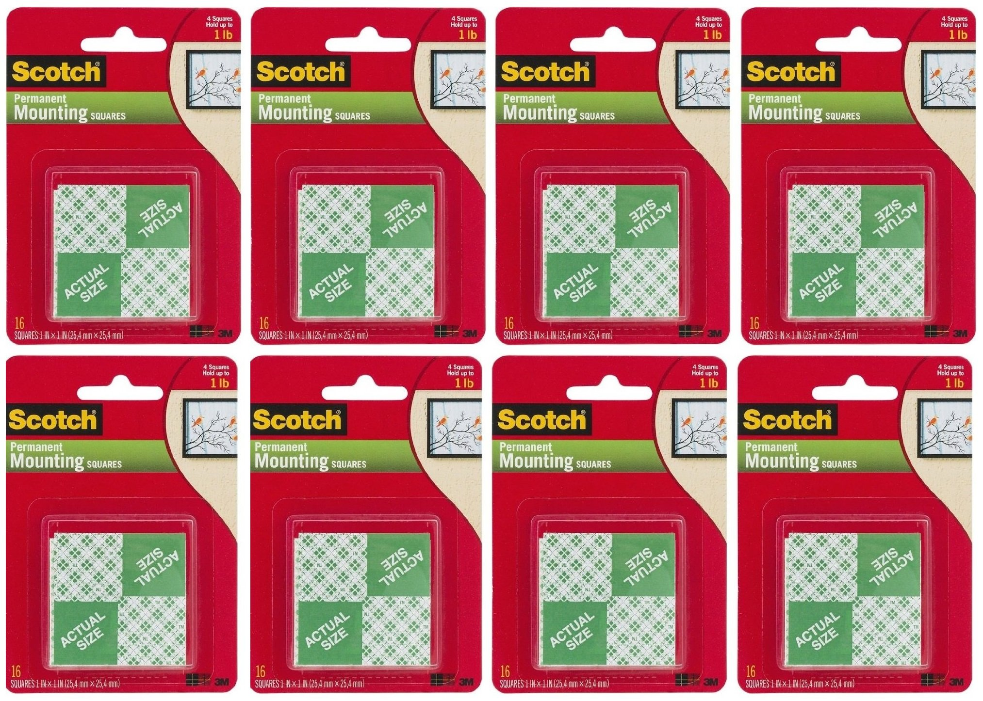 3M Scotch Precut Foam Mounting Squares Heavy Duty, 1 Inch, Total 128 Squares (8 X 16 Count Packages)