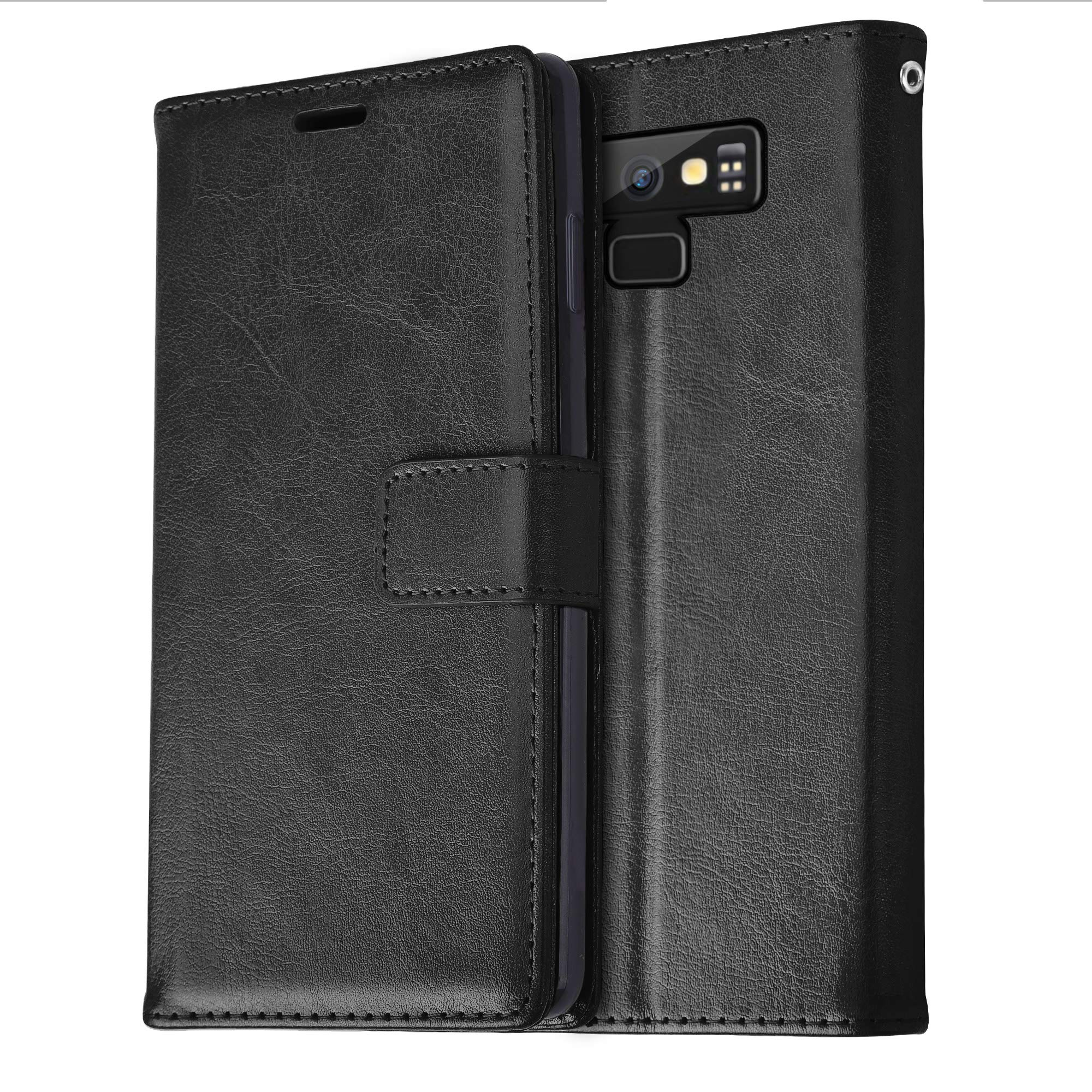Samsung Galaxy Note 9 Case Leather Wallet Card Slot Holder Genuine Flip Cover (Black, Galaxy Note 9)