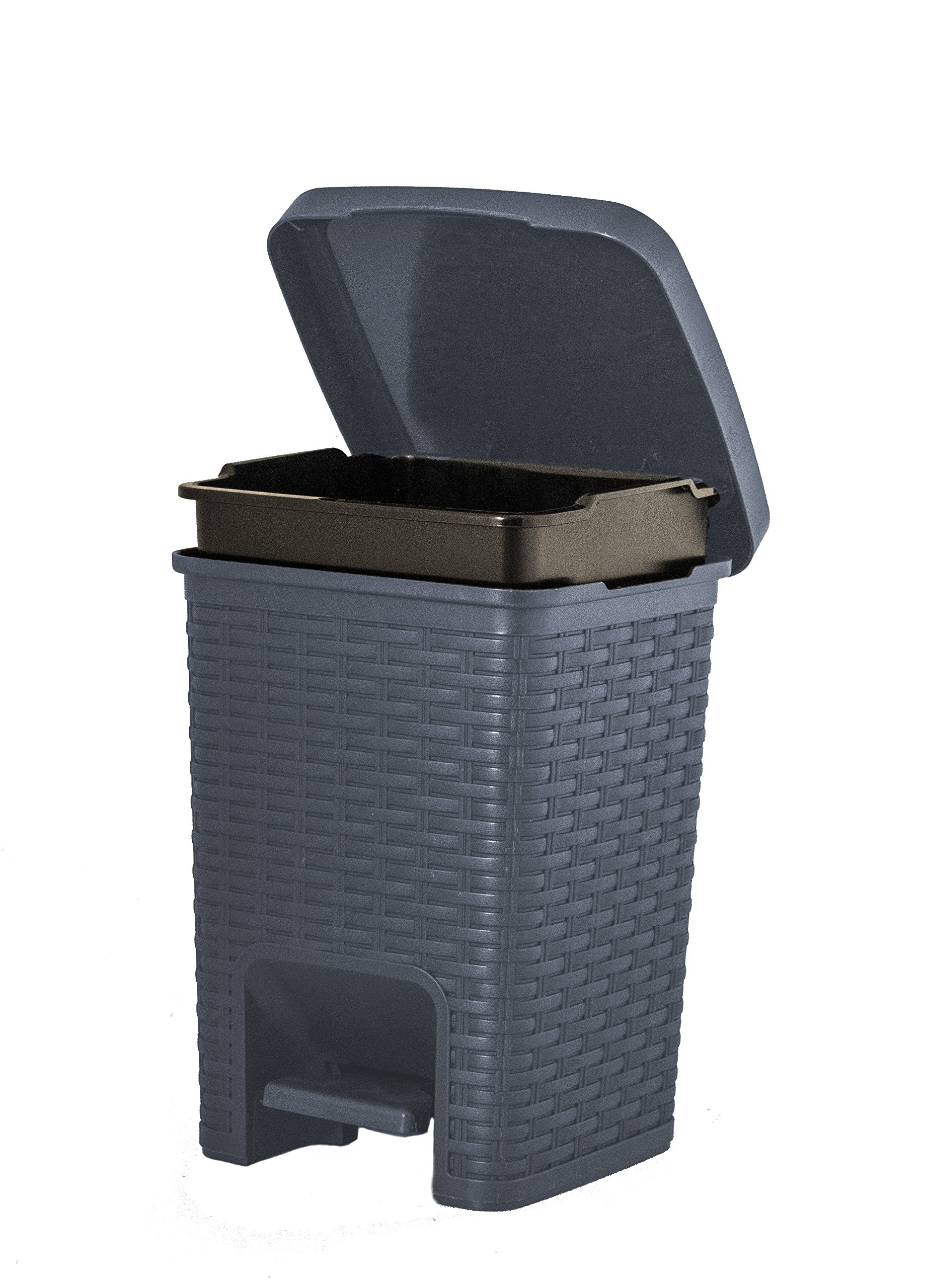 Superio Square Pedal Trash Can, Rattan Style, 7.5 Qt (Grey)