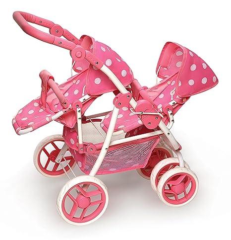 Badger Basket Reversible Doble Doll Stroller – Lunares Rosa