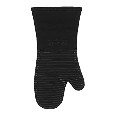 All Clad Textiles Deluxe Heat and Stain Resistant Oven Mitt. Made of Silicone Treated Heavyweight 100-Percent Cotton Twill, Machine Washable, 14 x 6.5 Inches, Black