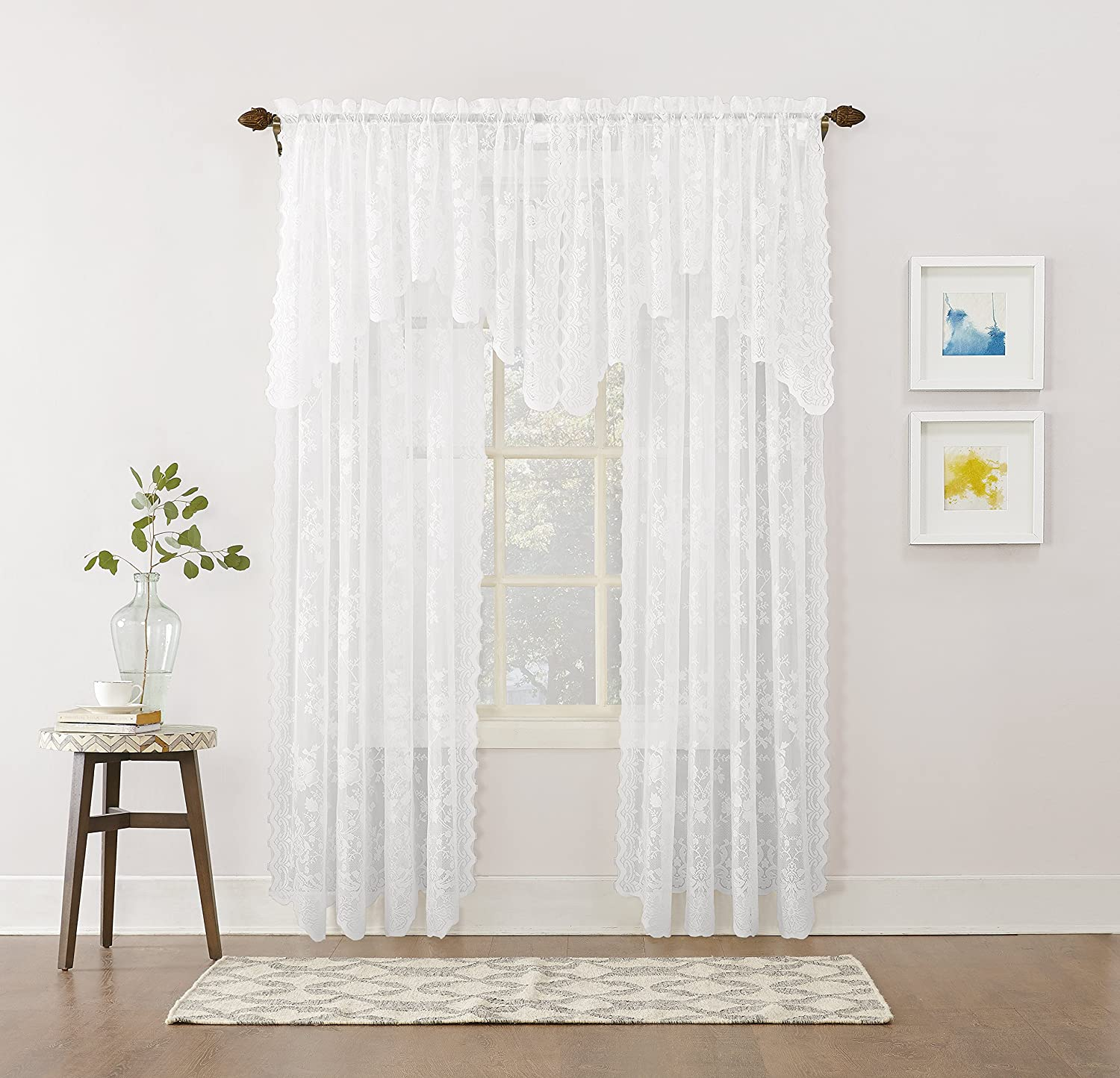 "No. 918 Alison Floral Lace Sheer Rod Pocket Curtain Panel, 58"" x 32"", White"