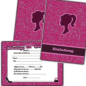 Einladungskarten Kindergeburtstag Mädchen Einladungen Geburtstag Kinder  Girls Party (8 Stück)
