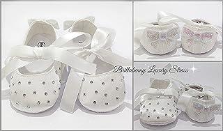 SCARPA BALLERINA NEONATA 0-6 MESI BIANCA + CRISTALLI STRASS e FIOCCO PAILETTES Scarpine Battesimo Festa Party Matrimonio Compleanno Nascita Wedding Baby Shower Shoes Christening Birthday
