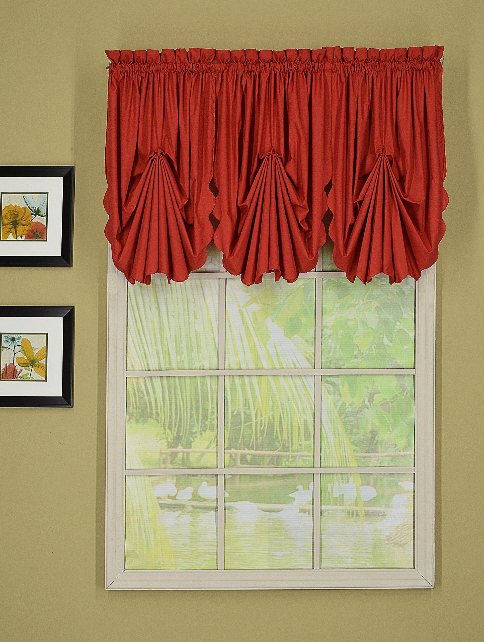 Today's Curtain CA2003K Orleans Fan Insert Tambour Scallop Edge Curtain, Brick Red, 30'' W x 40'' L