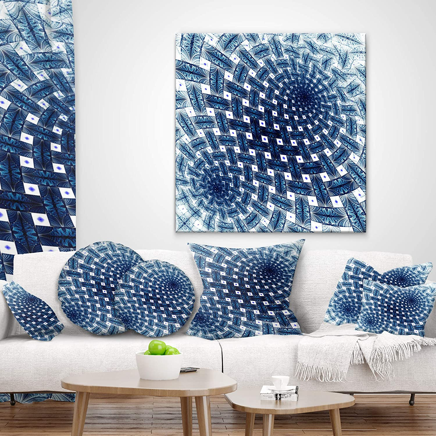 Throw Pillow X 20 In Sofa Designart Cu12036 12 20 3d Shaped Blue Large Fractal Flower Floral Lumbar Cushion Cover For Living Room 12 In Insert Printed On Both Side Home Kitchen Throw