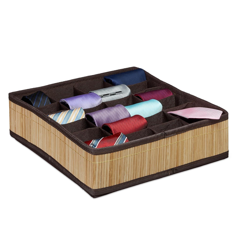 Relaxdays 10020568 Boîte à Cravates de Rangement Pliable Design Bambou Organiseur de tiroir sous-vêtements Chaussettes 24 emplacements Nature 10020568_126 organiseur-armoire organiseur-bijoux organiseur-de-tiroir