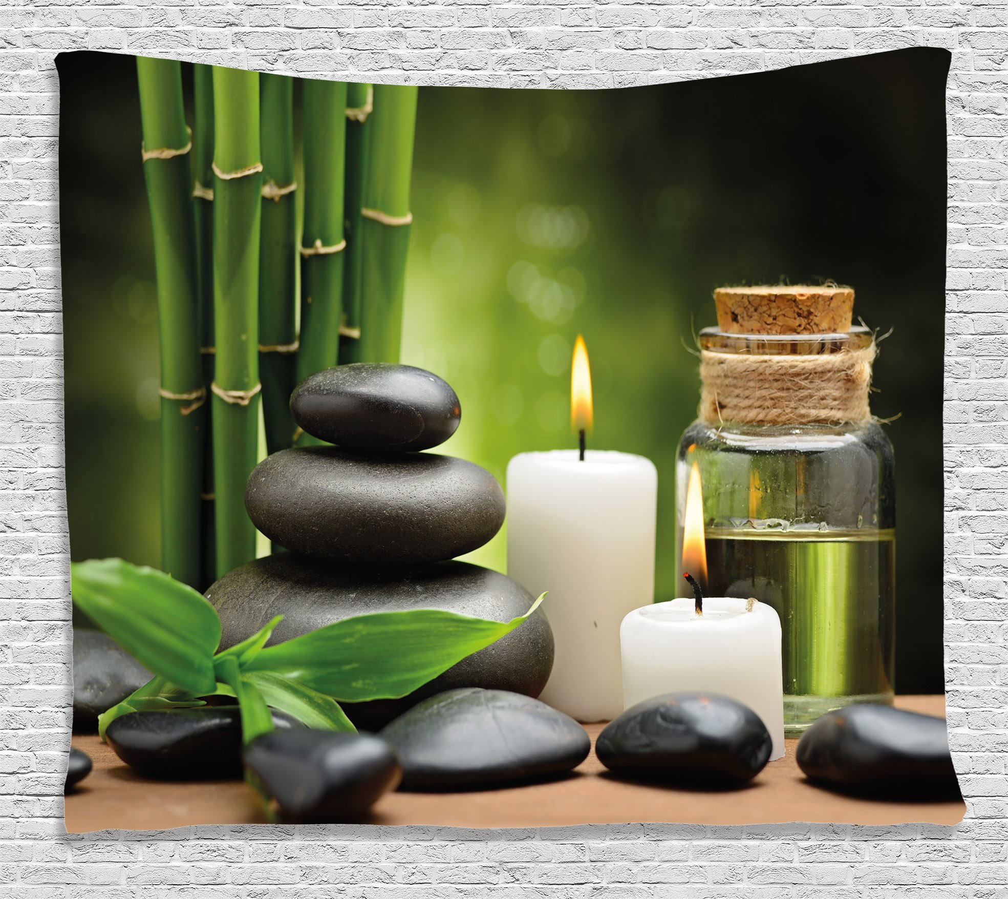 Ambesonne Spa Decor Tapestry, Hot Massage Rocks Combined with Candles and Scents Landscape of Bamboo, Wall Hanging for Bedroom Living Room Dorm, 80 W X 60 L inches, Green White and Black