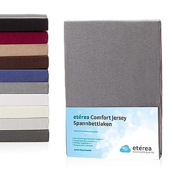 Topper Spannbetttuch 100/% Baumwolle Bettlaken 140x200-160x200 cm et/érea Jersey Spannbettlaken Grau Stegh/öhe 5 bis 10 cm
