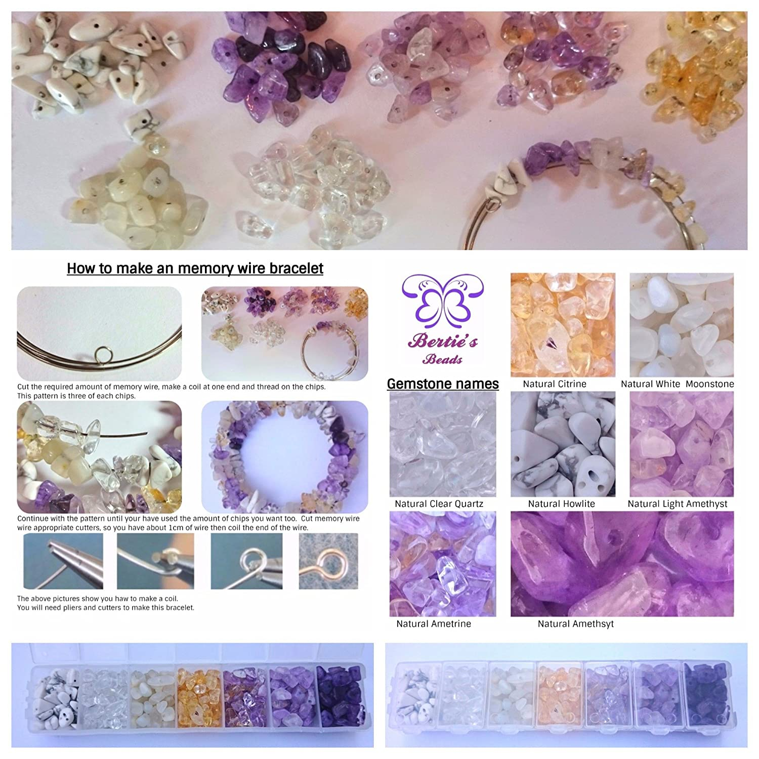 Berties Beads Gemstone Memory Wire Kit instructions included but not pliers or cutters