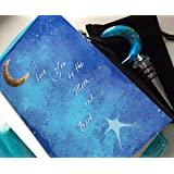 Smiling Wisdom - Glass Blue Moon w Gold Flecks Wine Bottle Stopper Gift Set - 2 I Love You to the Moon and Back Greeting Cards - Mother's Day, Father's Day, Birthday, Anniversary Gift - Blue