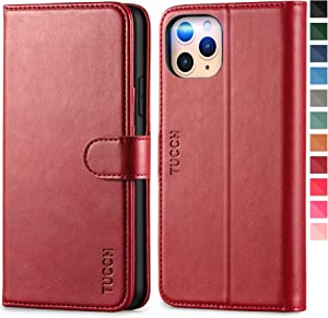 TUCCH iPhone 11 Pro Case, Magnetic Wallet [Auto Wake Sleep] RFID Blocking Protection Card Slots [TPU Shockproof Interior Case], PU Leather Stand Folio Cover Compatible with iPhone 11 Pro, Dark Red